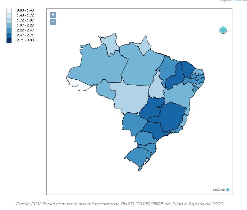 Mapa de pesquisa da FVG Social sobre tempo de estudo