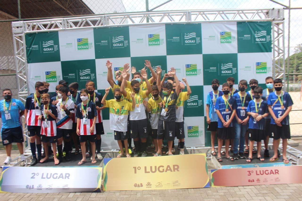 Vencedores dos Jogos Estudantis de Goiás 2021, categoria Infanto, na modalidade Futsal Masculino
